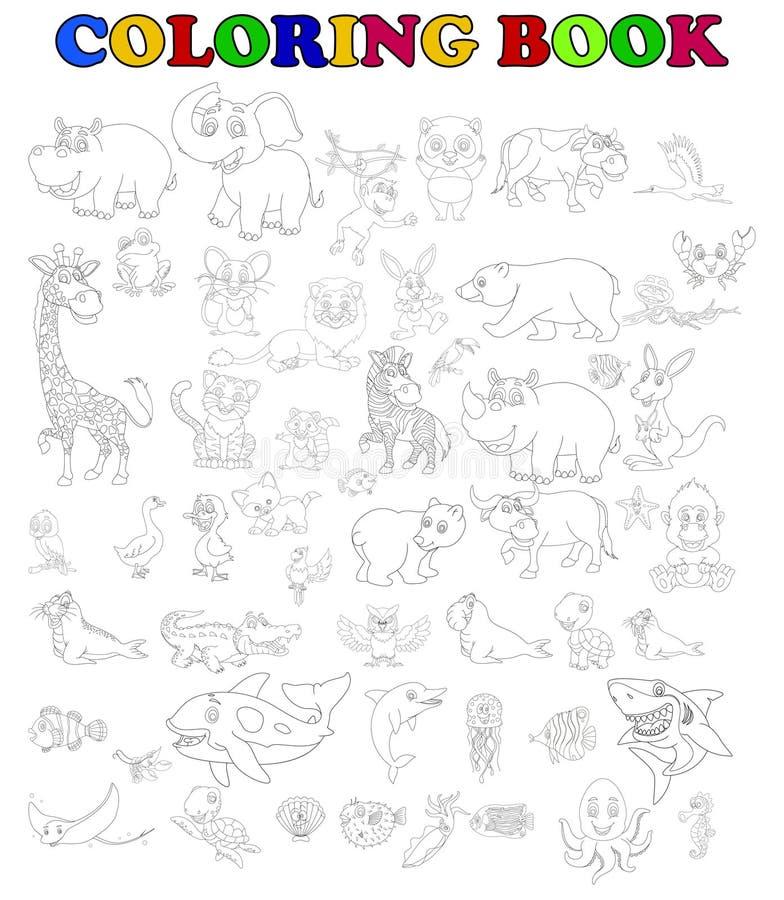 Kolorystyki książka duży zwierzęcy kreskówka set royalty ilustracja