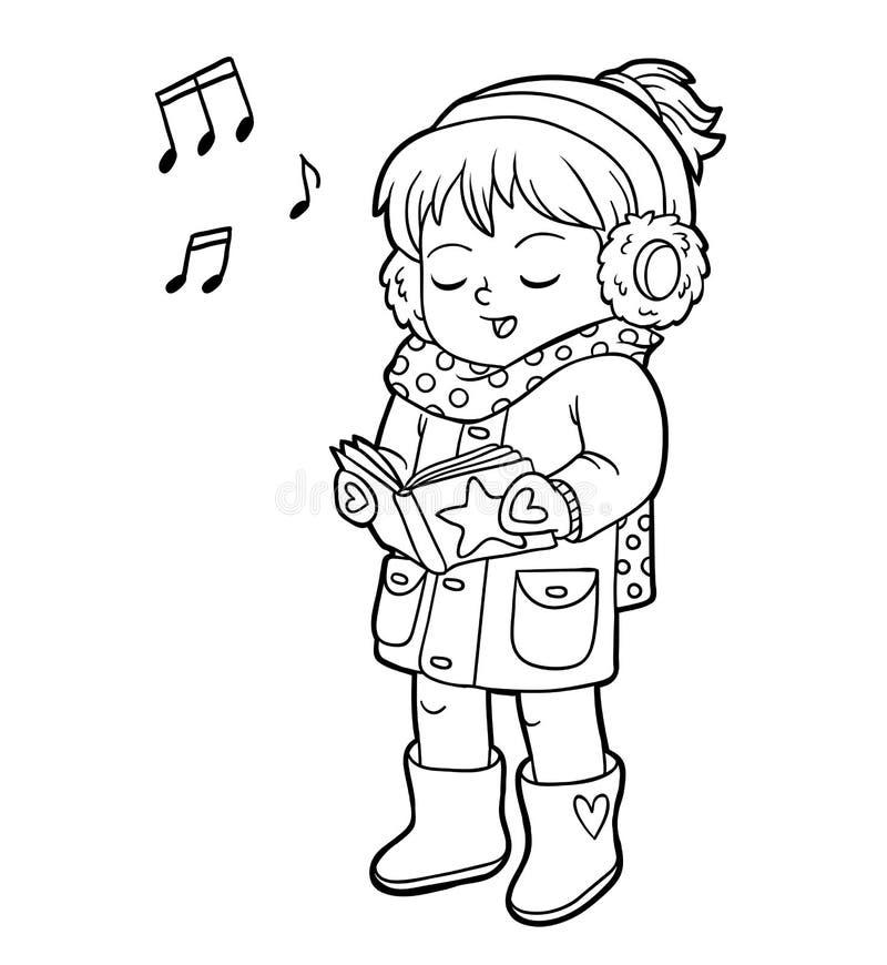 Kolorystyki książka, dziewczyna śpiewa Bożenarodzeniową piosenkę royalty ilustracja