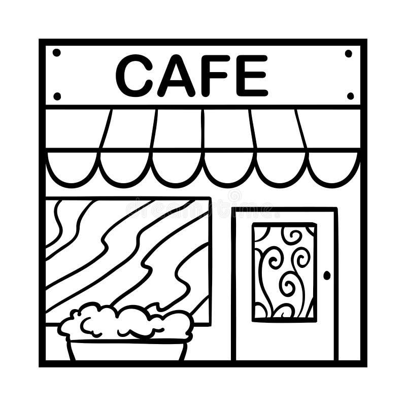 Kolorystyki książka, kawiarnia royalty ilustracja