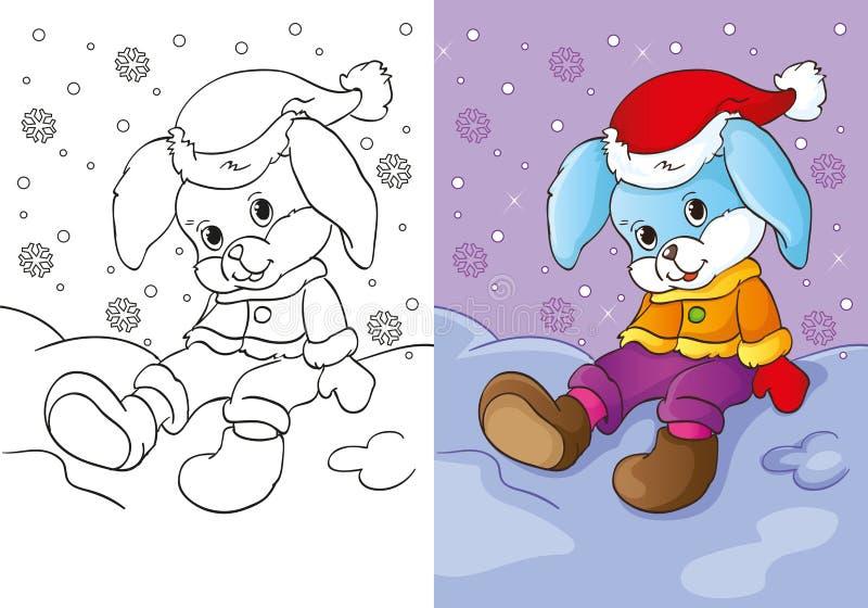 Kolorystyki książka królika obsiadanie W śniegu ilustracja wektor