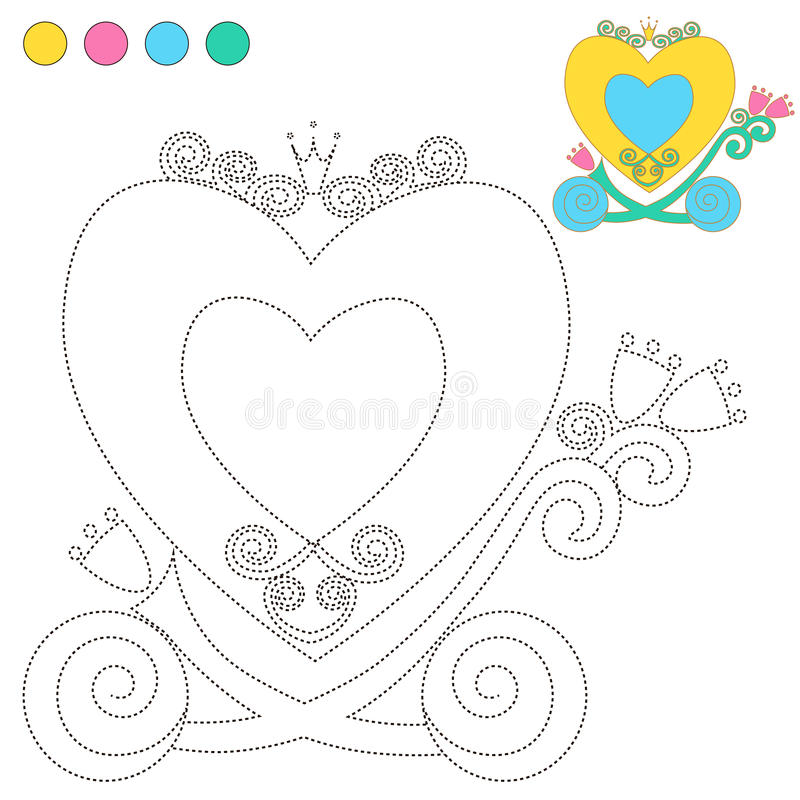 Kolorystyki książka lub strony kreskówki Ilustracyjny kareciany Princess dla dziecko edukaci ilustracja wektor