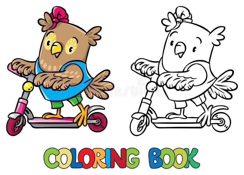 Kolorystyki książka mała śmieszna sowa na hulajnoga royalty ilustracja
