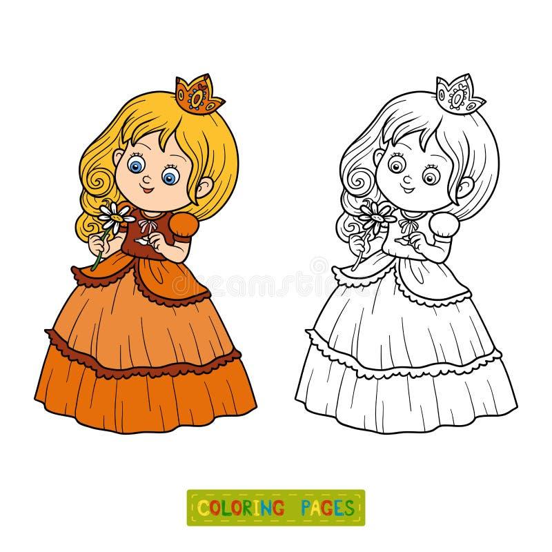 Kolorystyki książka, mały princess z kwiatem ilustracji