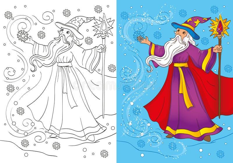 Kolorystyki książka magik Czaruje śnieżycę ilustracja wektor