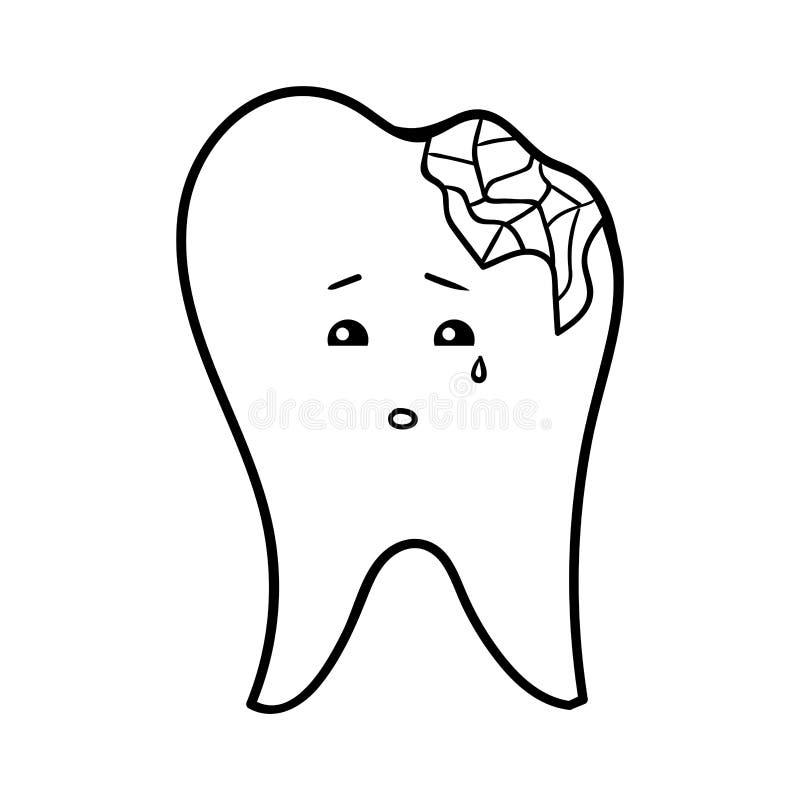 Kolorystyki książka, Odłupany ząb ilustracja wektor
