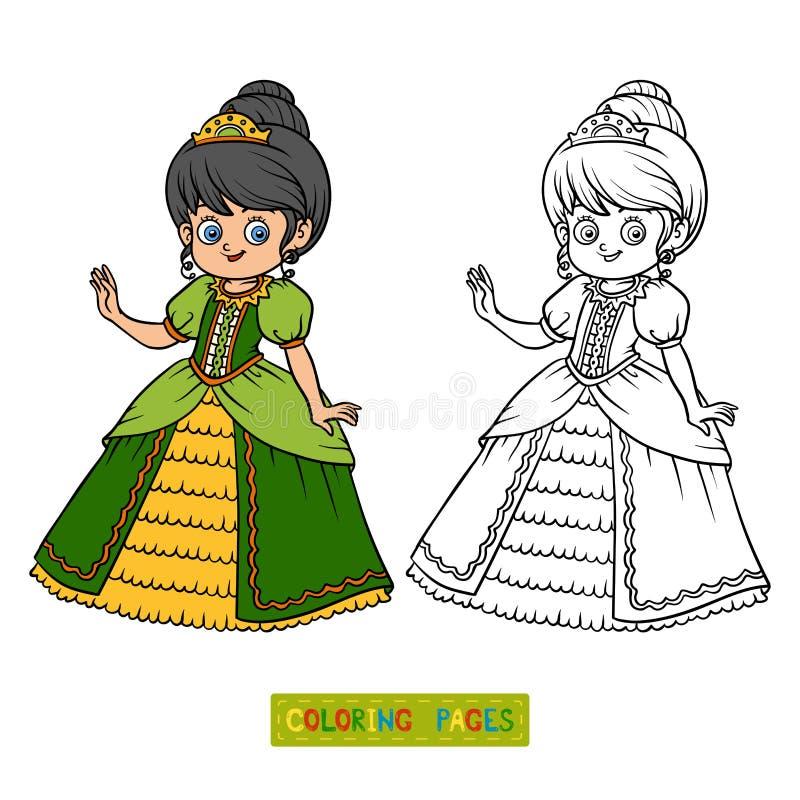 Kolorystyki książka, postać z kreskówki, Princess royalty ilustracja