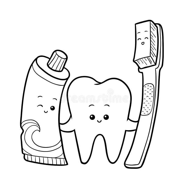 Kolorystyki książka, ząb, toothbrush i pasta do zębów, royalty ilustracja