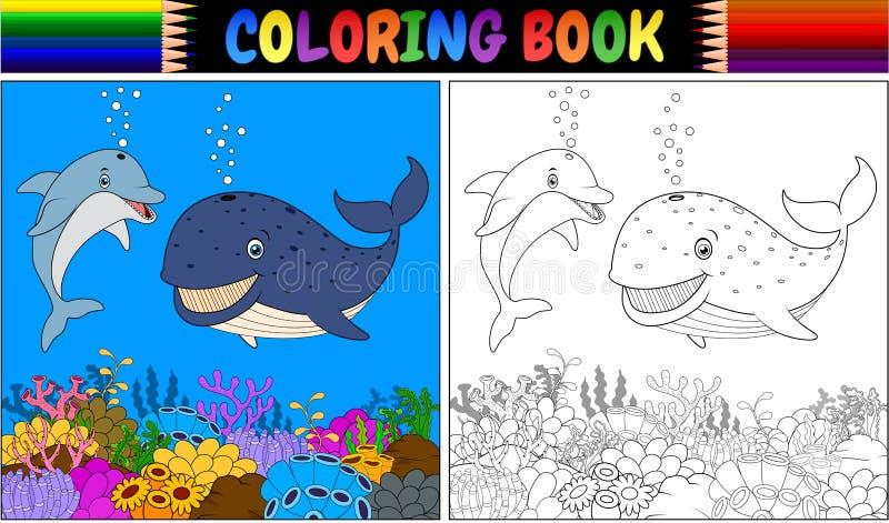 Kolorystyki książka z kreskówka wielorybem i delfinem ilustracji