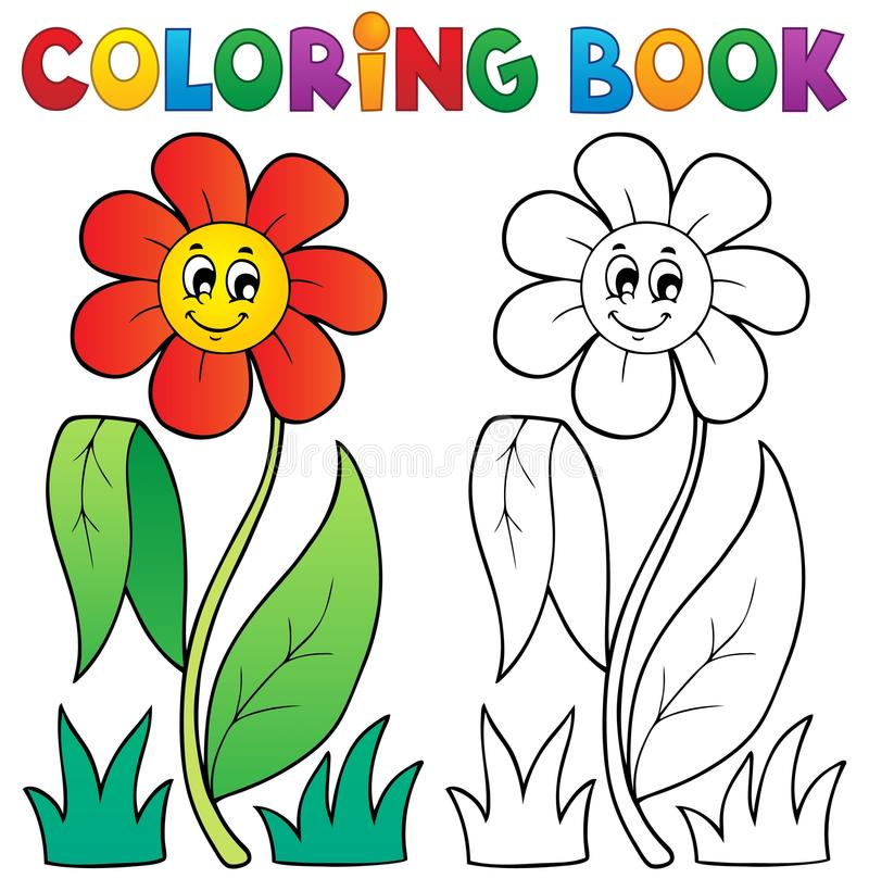 Kolorystyki książka z kwiatu tematem 3 royalty ilustracja