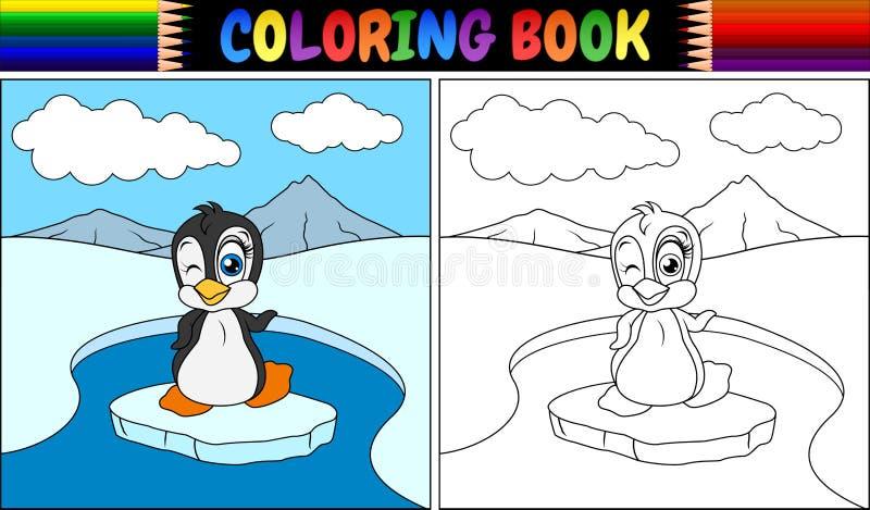 Kolorystyki książka z pingwinu ptakiem royalty ilustracja
