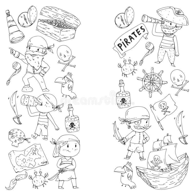 Kolorystyki książka z piratami Pirata morza przyjęcia tło dla dzieci, małe dzieci Podróż i przygoda Statek, skarb ilustracja wektor