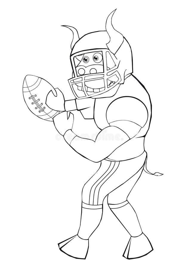 Kolorystyki książki byk bawić się futbol amerykańskiego Kreskówka styl Odosobniony wizerunek na białym tle ilustracji