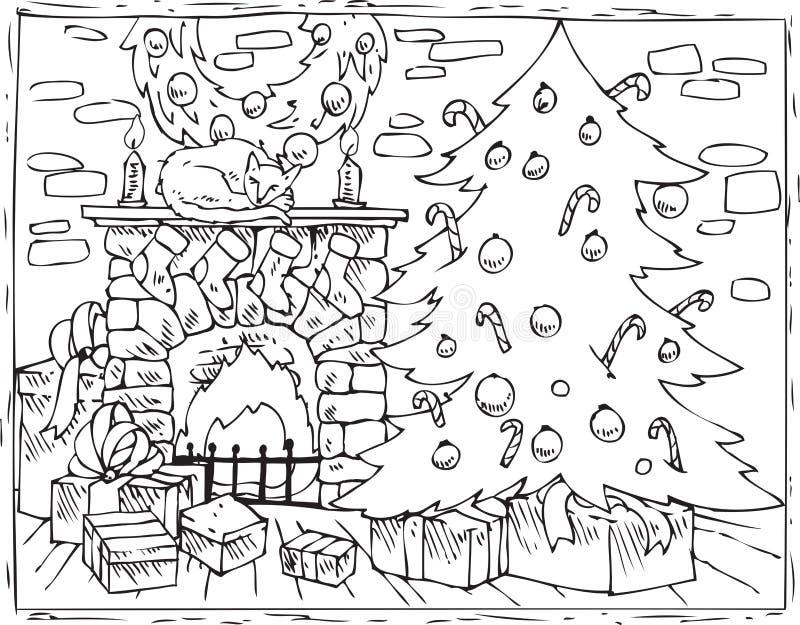Kolorystyki książki choinka, graba i prezenty, ilustracja wektor