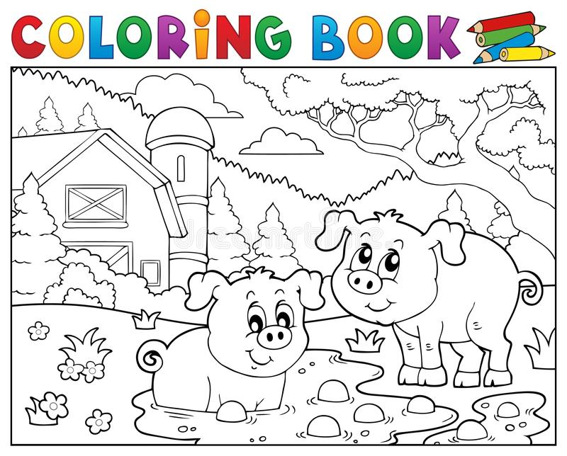 Kolorystyki książki dwa świnie blisko uprawiają ziemię ilustracja wektor