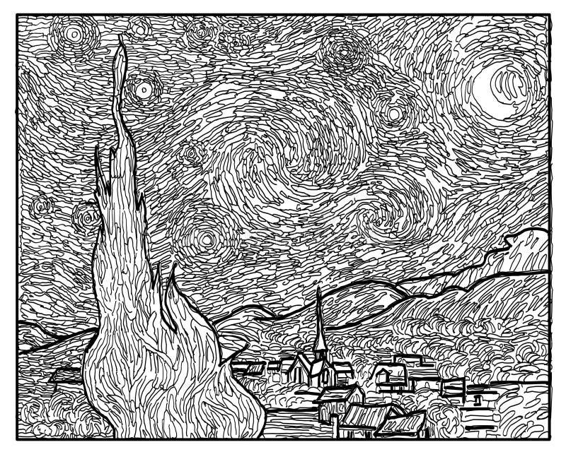 Kolorystyki książki Gwiaździstej nocy Van Gogh sztuki styl ilustracji