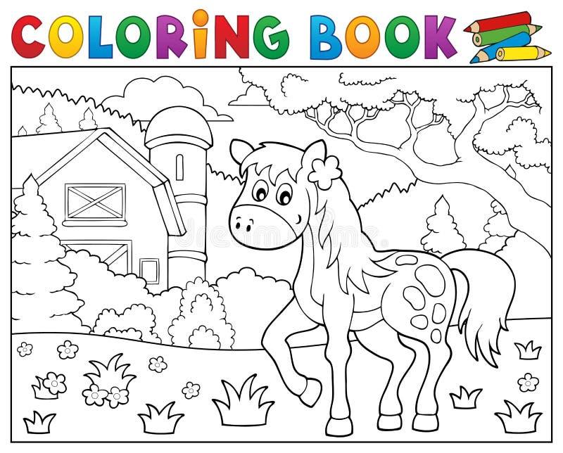 Kolorystyki książki koński pobliski rolny temat 1 ilustracja wektor