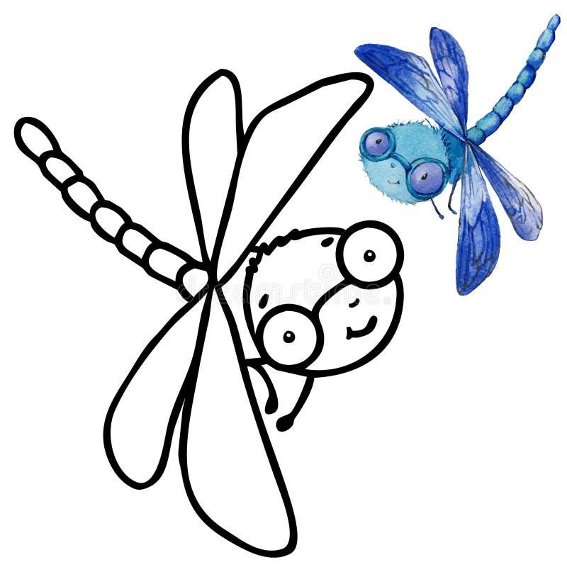 Kolorystyki książki kreskówki śmieszny insekt ilustracja wektor