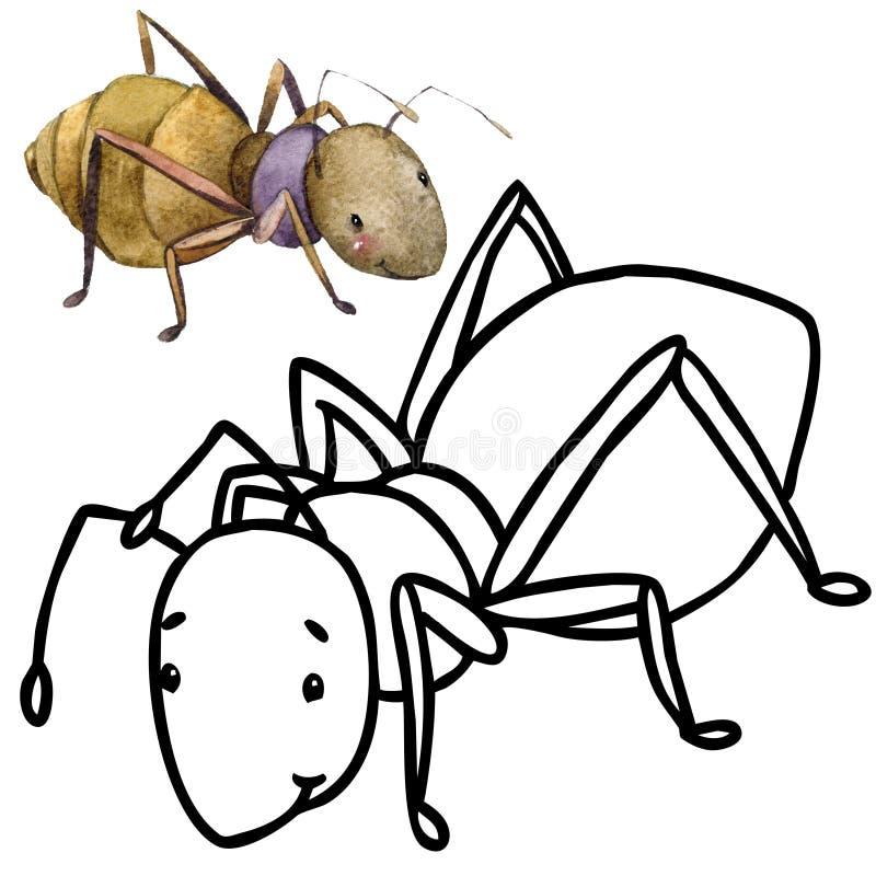 Kolorystyki książki kreskówki śmieszny insekt royalty ilustracja