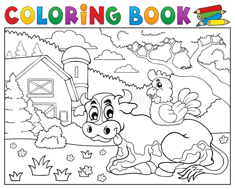 Kolorystyki książki krowy pobliski rolny temat 3 royalty ilustracja