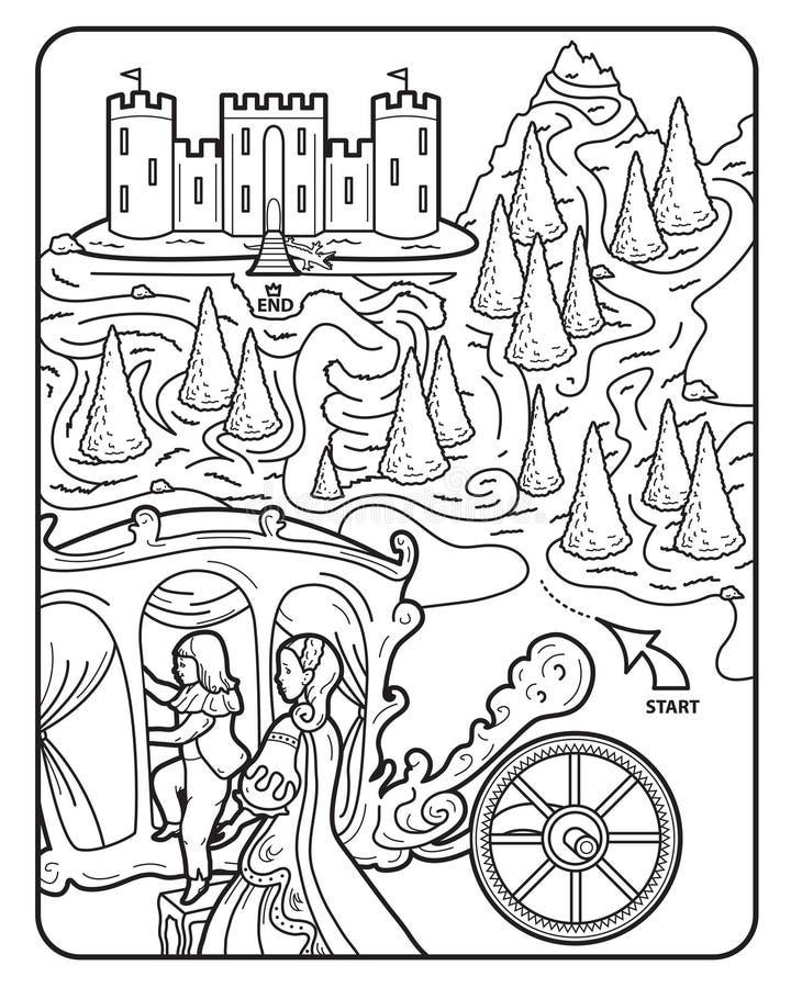 Kolorystyki książki labiryntu Królewski kasztel ilustracja wektor