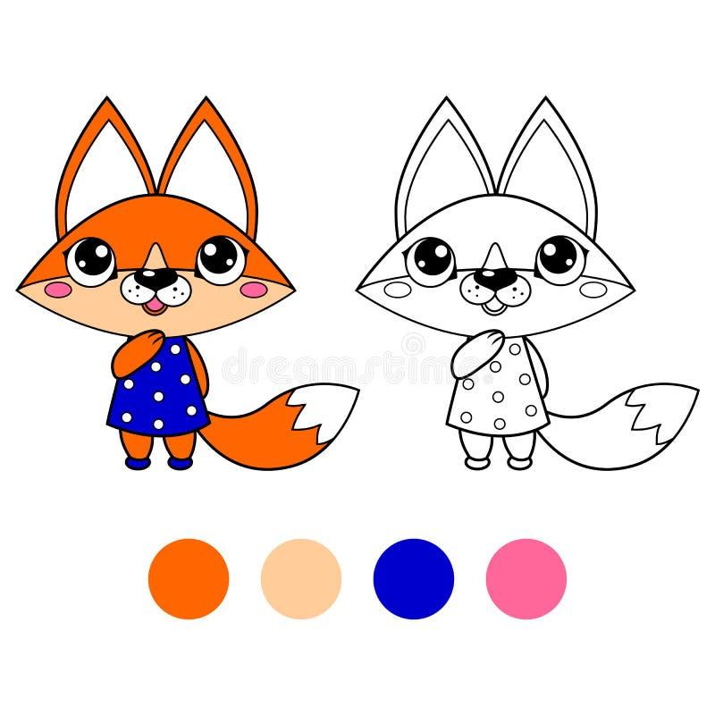 Kolorystyki książki lis, dzieciaka układ dla gry ilustracja wektor