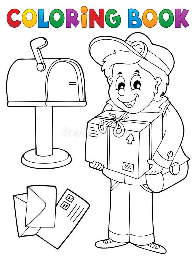 Kolorystyki książki mailman dostarcza pudełko ilustracji