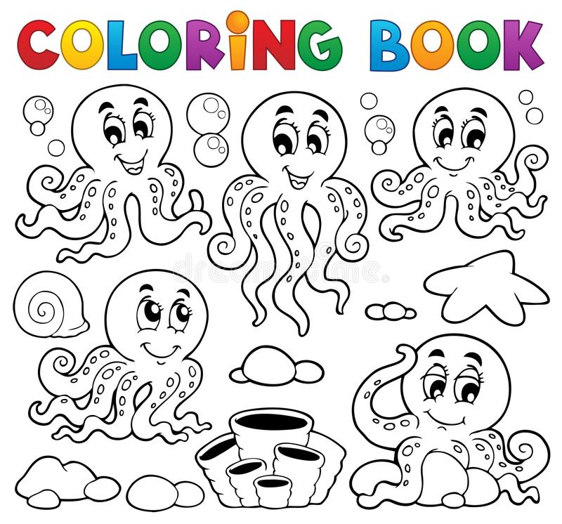 Kolorystyki książki ośmiornicy temat (1) royalty ilustracja