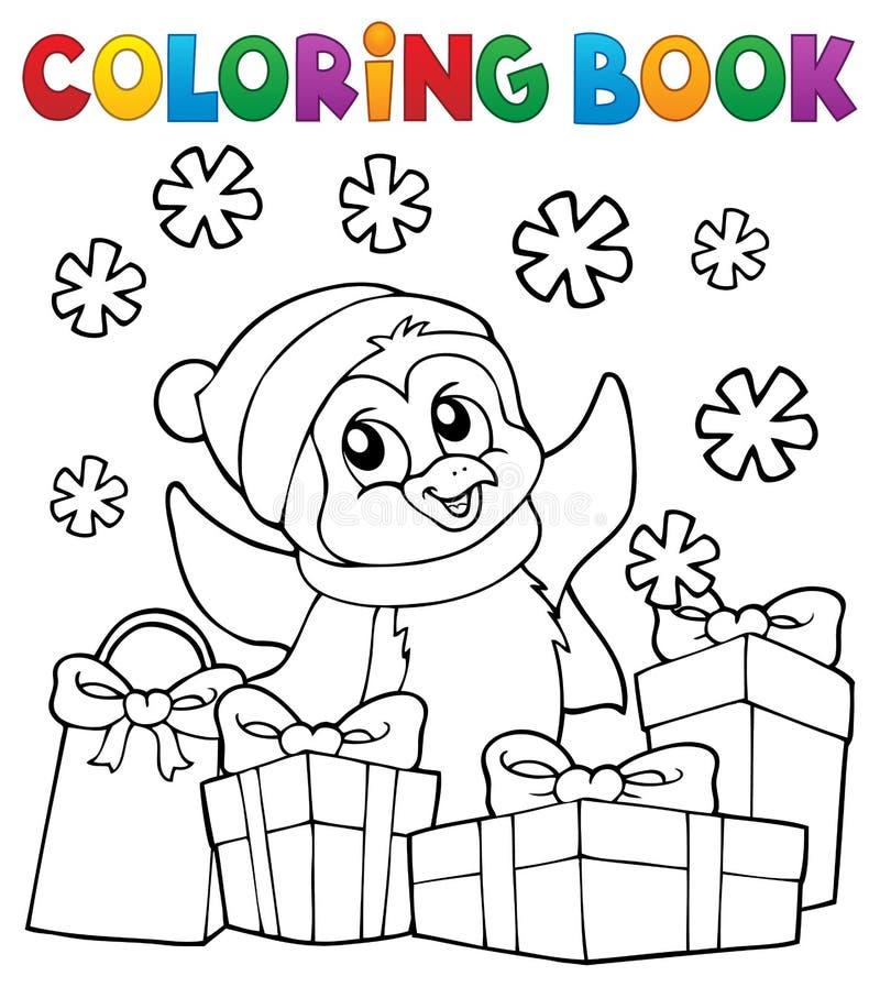 Kolorystyki książki pingwinu Bożenarodzeniowy temat 2 ilustracji