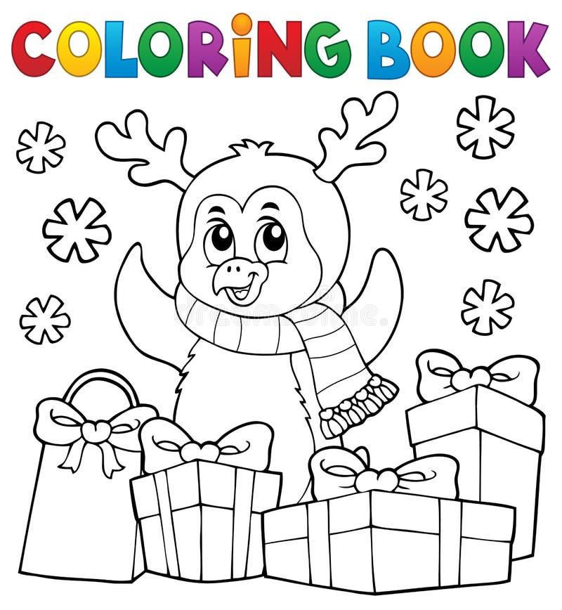 Kolorystyki książki pingwinu Bożenarodzeniowy temat 5 ilustracja wektor