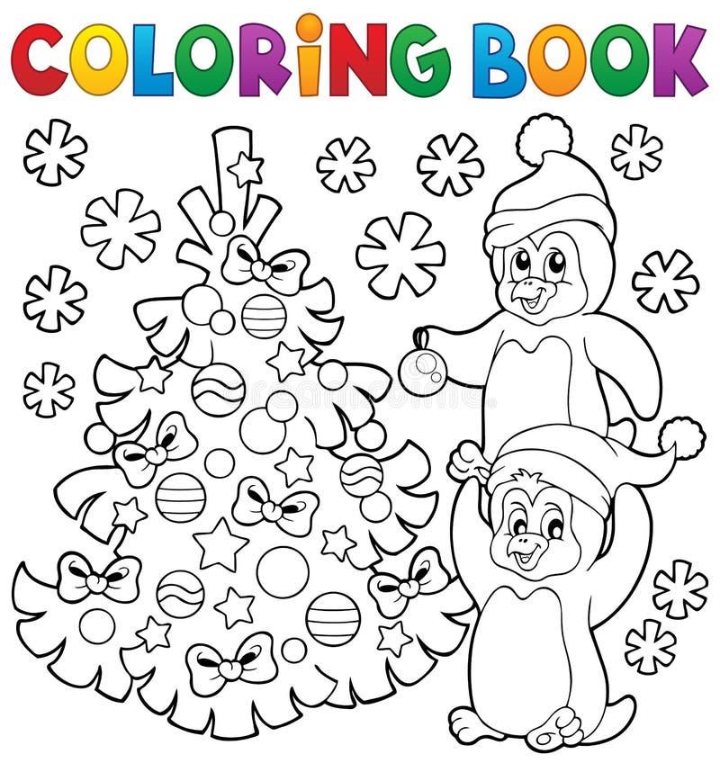 Kolorystyki książki pingwiny choinką ilustracji