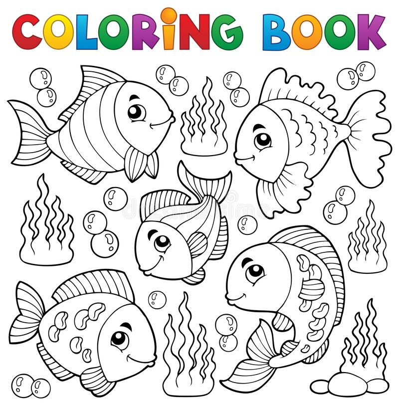 Kolorystyki książki różnorodny rybi temat (1) royalty ilustracja