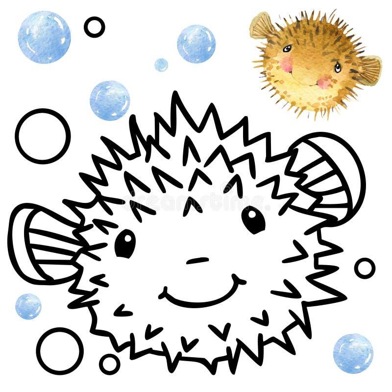 Kolorystyki książki rafy koralowa fauny Kreskówki rybia ilustracja dla dzieciak rozrywki ilustracja wektor