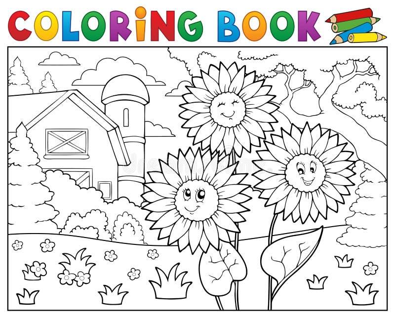 Kolorystyki książki słoneczniki blisko uprawiają ziemię ilustracji