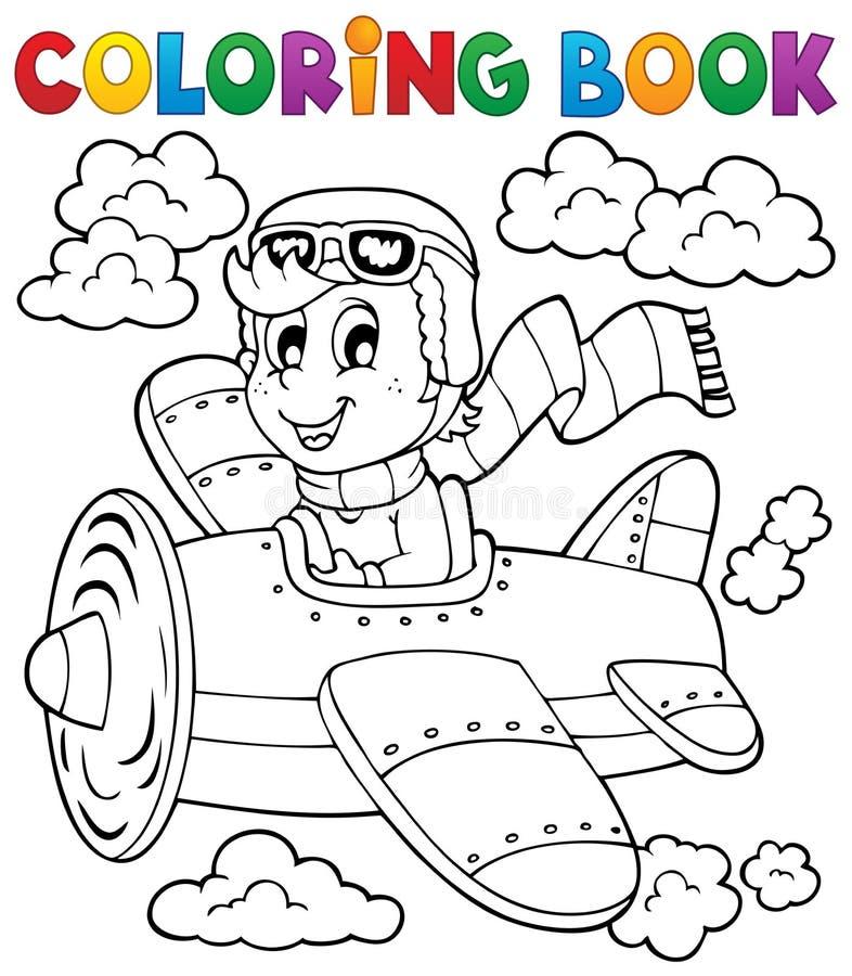 Kolorystyki książki samolotowy temat 1 ilustracja wektor
