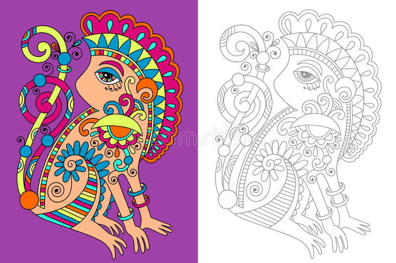 Kolorystyki książki strona dla dorosłych z niezwykłym ilustracja wektor