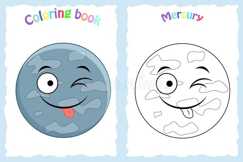 Kolorystyki książki strona dla preschool dzieci z kolorowym Mercury ilustracji
