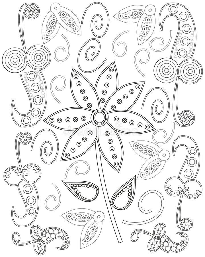 Kolorystyki książki strona dla tworzenia, serca i kwiatów dorosły kreskowej sztuki, relaksuje i medytacja royalty ilustracja