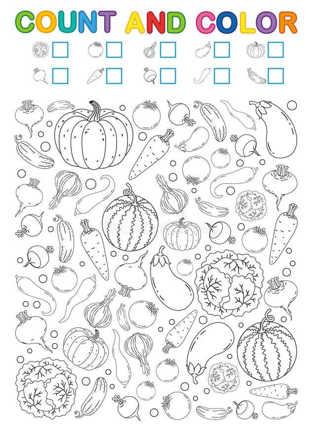 Kolorystyki książki strona obliczenie i kolor Printable worksheet dla dziecina i preschool Ćwiczenia dla nauk liczb Jaskrawy Vege ilustracji