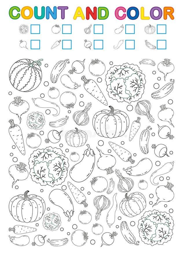 Kolorystyki książki strona obliczenie i kolor Printable worksheet dla dziecina i preschool Ćwiczenia dla nauk liczb Jaskrawy Vege royalty ilustracja