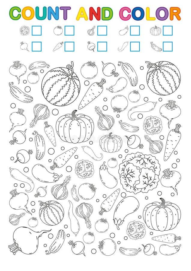 Kolorystyki książki strona obliczenie i kolor Printable worksheet dla dziecina i preschool Ćwiczenia dla nauk liczb Jaskrawy Vege ilustracja wektor