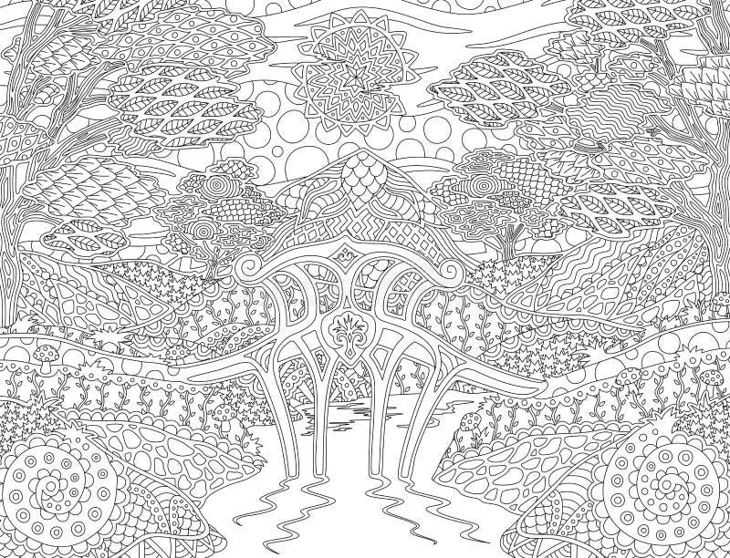 Kolorystyki książki strona z pogodnym fantazja krajobrazem ilustracji
