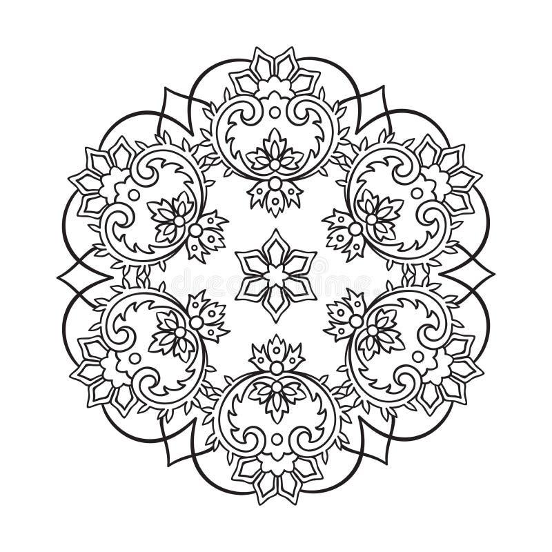 Kolorystyki książki strony dla dzieciaków i dorosłych Ręka rysujący abstrakcjonistyczny płatek śniegu ilustracji