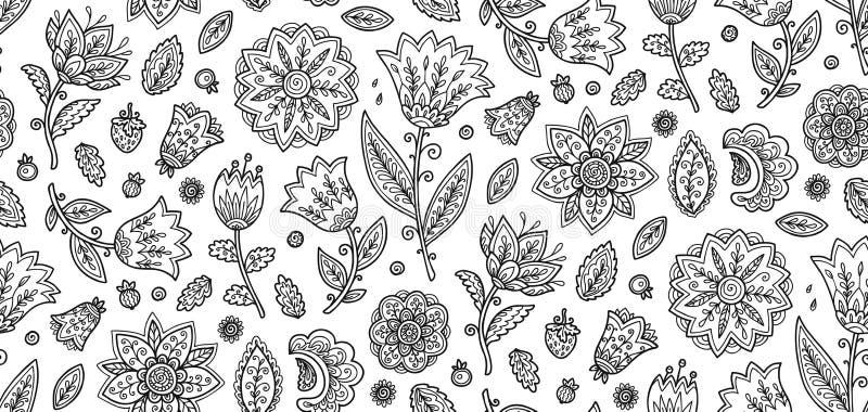 Kolorystyki książki stylu ozdobny czerń kwitnie na białego tła wzoru wektorowej bezszwowej płytce royalty ilustracja