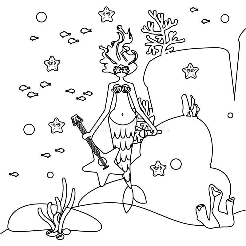 Kolorystyki książki syrenki gwiazda rocka Dziewczyna z ogonem Syrena w okularach przeciwsłonecznych trzyma gitarę Dno morskie kra ilustracja wektor