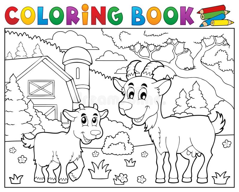 Kolorystyki książki szczęśliwe kózki blisko uprawiają ziemię ilustracja wektor