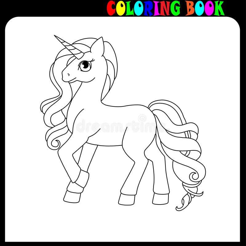 Kolorystyki książki unicorne, konia lub konika temat, royalty ilustracja