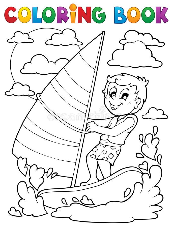 Kolorystyki książki wodnego sporta temat 1 ilustracja wektor