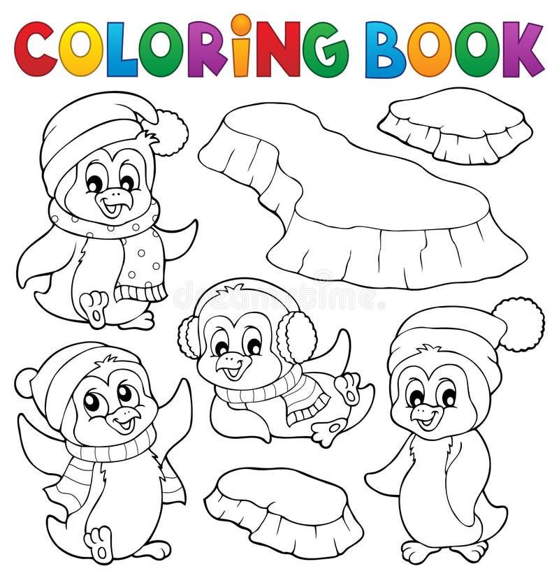 Kolorystyki książki zimy szczęśliwi pingwiny royalty ilustracja