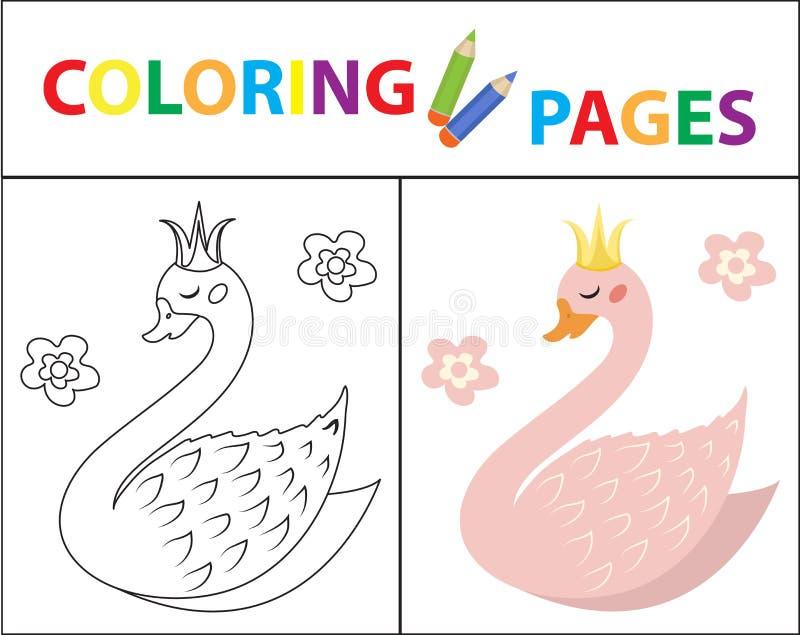 Kolorystyki ksi??ki strona dla dzieciak?w ?liczny ?ab?d? Nakre?lenie koloru i konturu wersja Children edukacja r?wnie? zwr?ci? co ilustracji