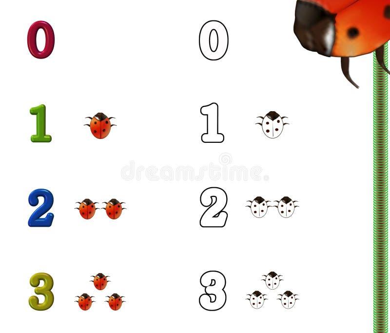 kolorystyki liczb strona ilustracja wektor